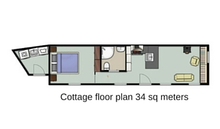 Cottage floor plan 34 sq meters